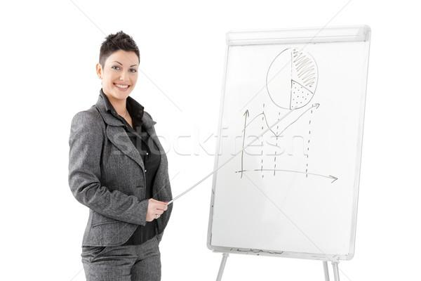 Businesswoman pointing at whiteboard Stock photo © nyul