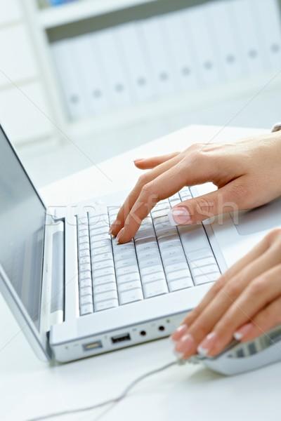 Stok fotoğraf: Eller · dizüstü · bilgisayar · kullanıyorsanız · resim · kadın · bilgisayar · fare