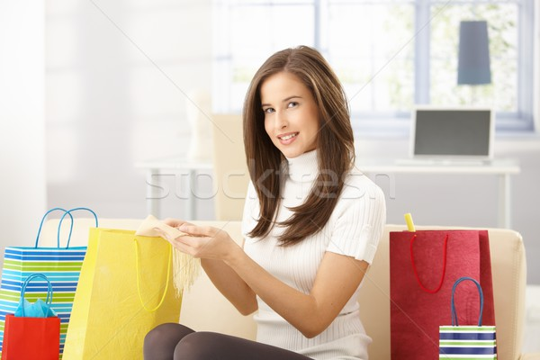 Woman at home with shopping bags Stock photo © nyul