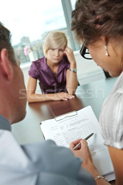 Choro entrevista de emprego mulher candidato fracassado ombro Foto stock © nyul