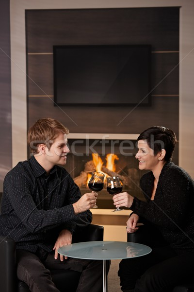 Stockfoto: Romantische · paar · dating · jonge · vergadering · haard