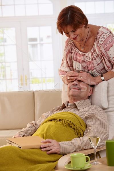 Idős pár otthon idős nő meglepő férj Stock fotó © nyul