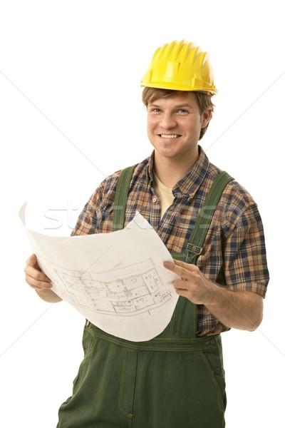 Glücklich Builder halten Grundriss tragen Stock foto © nyul