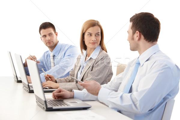 молодые коллеги обсуждение таблице женщину Сток-фото © nyul