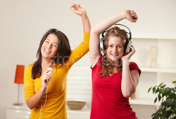 Teen girls listening to music Stock photo © nyul