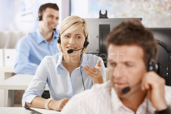 Operator talking on headset Stock photo © nyul