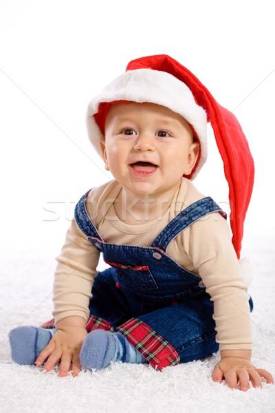 Karácsony baba egyéves fiú kalap mosolyog Stock fotó © nyul