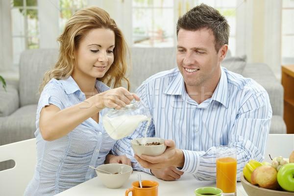 Stockfoto: Ontbijt · home · paar · eten · granen · vruchten