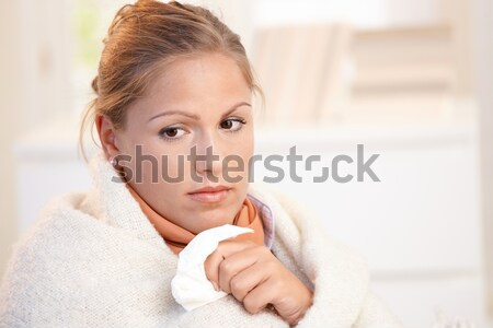 Stock photo: Portrait of young female having flu feeling bad