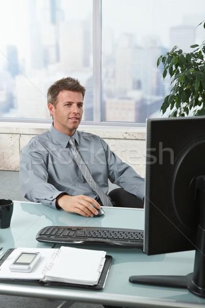 Stock fotó: Sikeres · üzletember · dolgozik · asztal · kereskedő · számítógép
