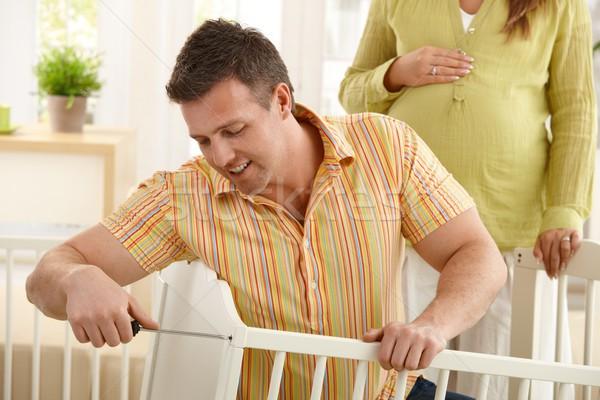 папу кровать домой беременна мама Сток-фото © nyul