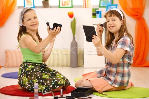 Young girls playing with makeup Stock photo © nyul
