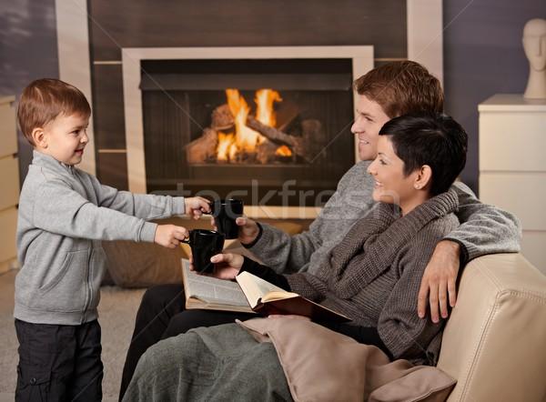 Stockfoto: Gelukkig · gezin · home · vergadering · bank · haard · drinken