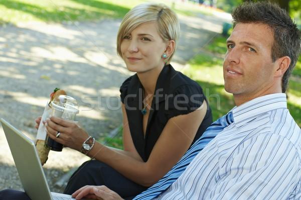 бизнеса обед Открытый молодые сидят Сток-фото © nyul