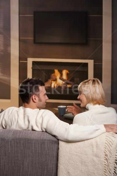 Photo stock: Romantique · couple · maison · jeunes · séance · canapé