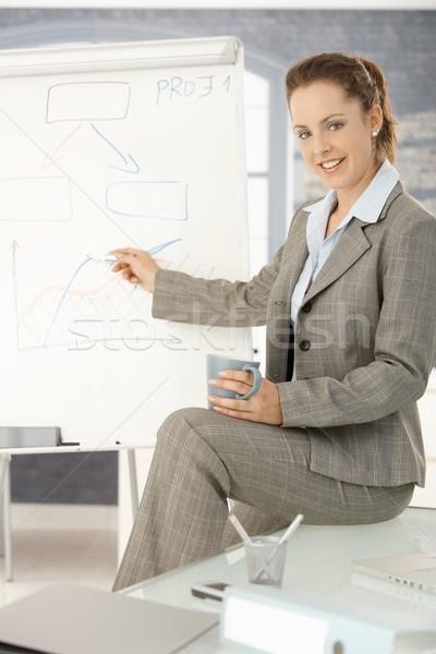 Businesswoman presenting over whiteboard Stock photo © nyul