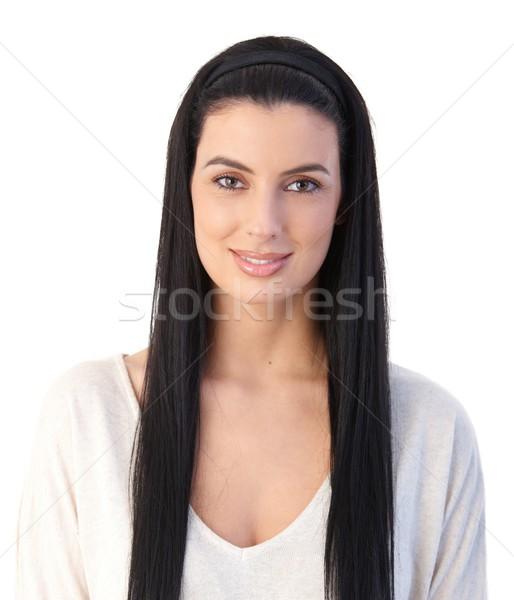 Retrato atractivo mujer atractiva largo pelo negro sonriendo Foto stock © nyul