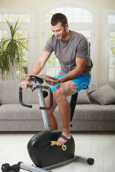 Foto stock: Hombre · ejercicio · casa · sesión · moto