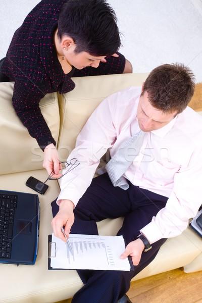 Foto stock: Negócio · casal · trabalhando · jovem