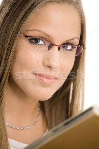Piękna czytania książki odizolowany Zdjęcia stock © nyul