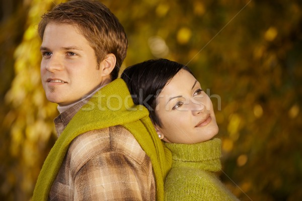 Couple daydreaming in park Stock photo © nyul