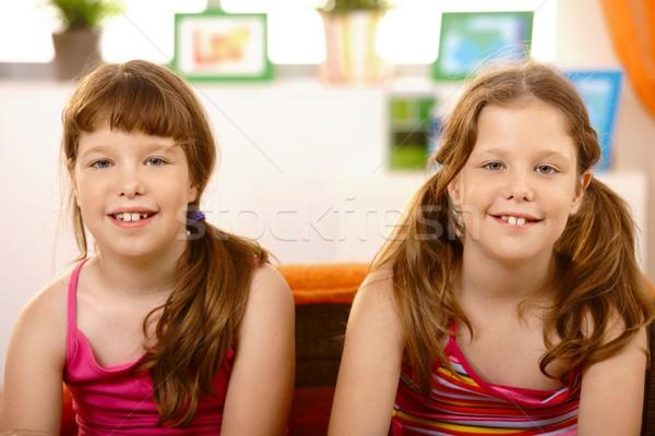Portré aranyos iskolás lányok közelkép mosolyog kamera Stock fotó © nyul