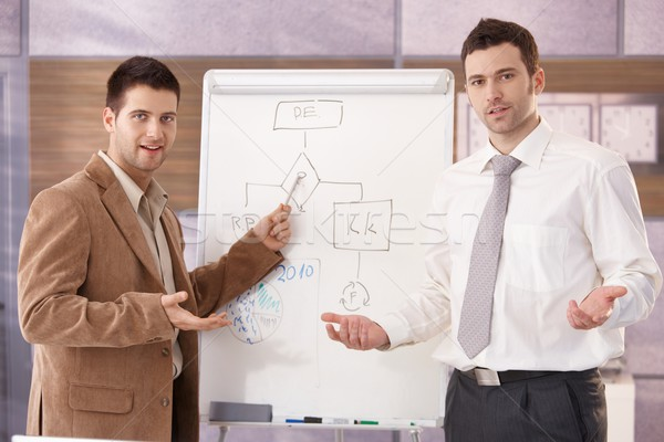 Confident businessmen presenting together smiling Stock photo © nyul
