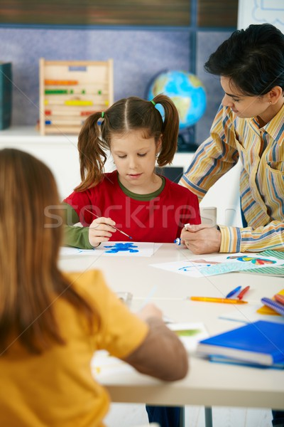 School children and teacher in art class Stock photo © nyul