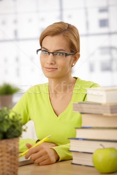 Meisje bureau bril vergadering Stockfoto © nyul