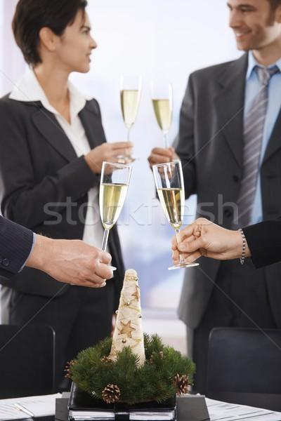 Stockfoto: Zakenlieden · vieren · christmas · toast · vergadering · tabel