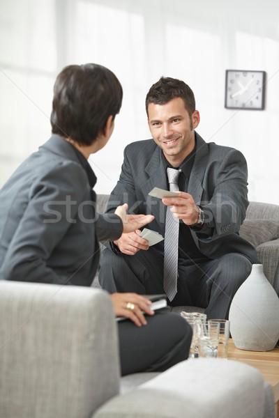 Pessoas de negócios cartões reunião de negócios escritório entrada pessoas Foto stock © nyul