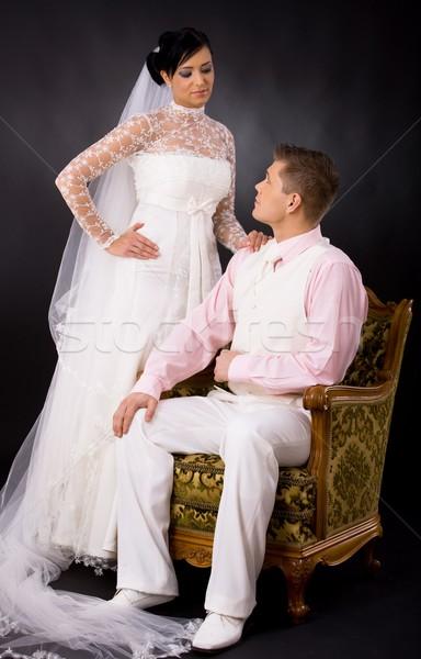 Bruid bruidegom studio portret bruiloft paar Stockfoto © nyul