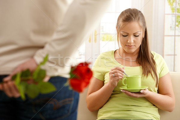 Man giving red rose to woman Stock photo © nyul