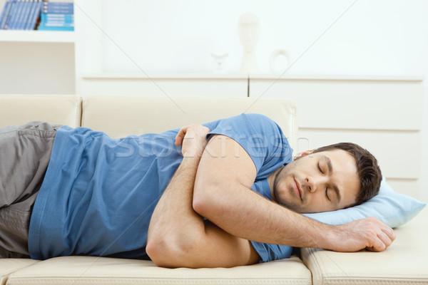 Stockfoto: Man · slapen · bank · jonge · knappe · man · home
