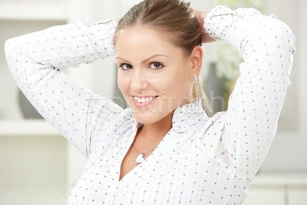 Boldog fiatal nő közelkép portré gyönyörű ül Stock fotó © nyul