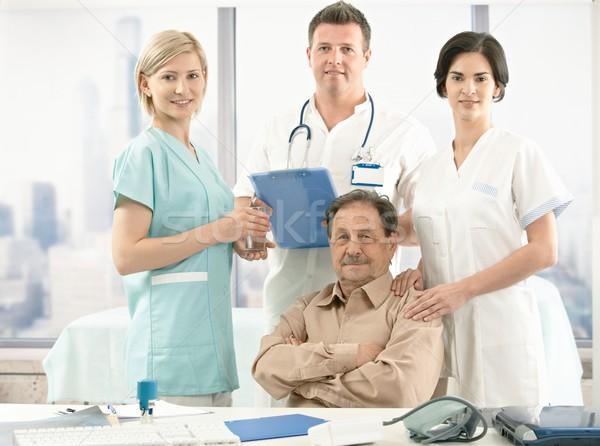 Foto stock: Senior · paciente · médico · equipe · retrato · sessão