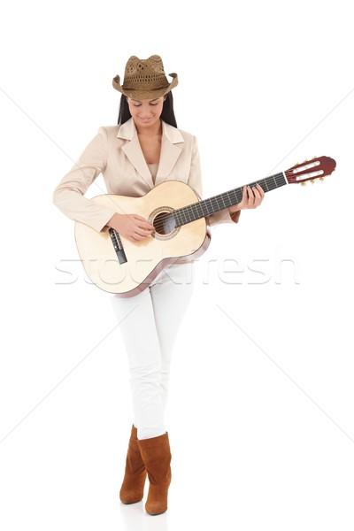 Elegante guitarrista femenino música sonriendo Foto stock © nyul