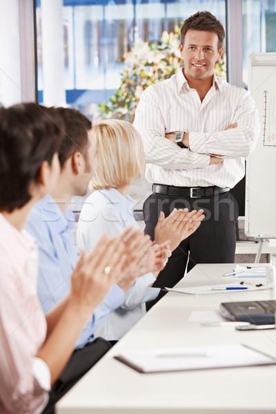 Foto stock: Empresário · apresentação · em · pé · negócio