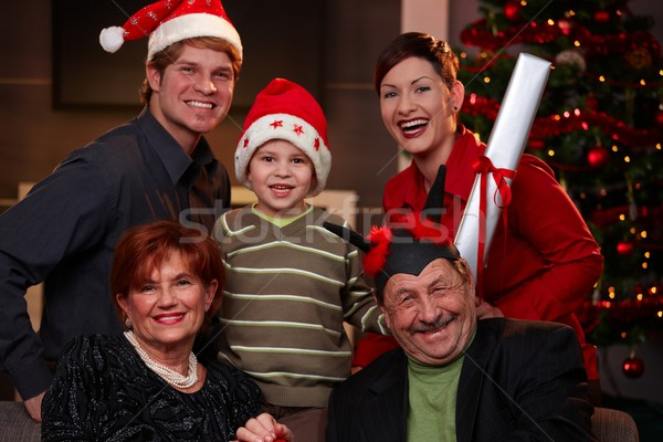 Happy family at christmas eve Stock photo © nyul