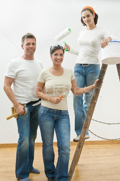Stockfoto: Home · improvement · jongeren · poseren · tools · ladder · glimlachend