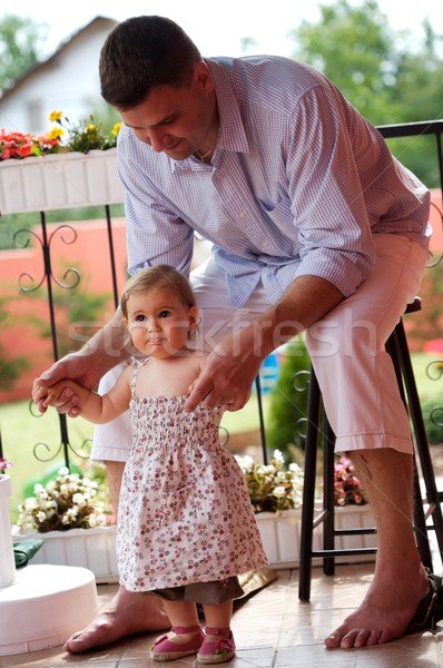 Father and baby girl outdoor Stock photo © nyul