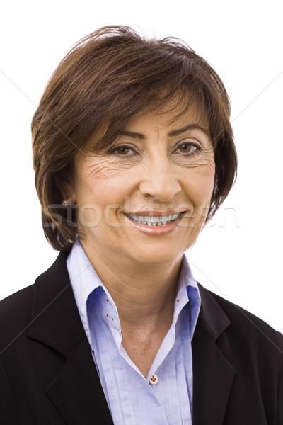 Stockfoto: Gelukkig · senior · zakenvrouw · geïsoleerd · witte · pak