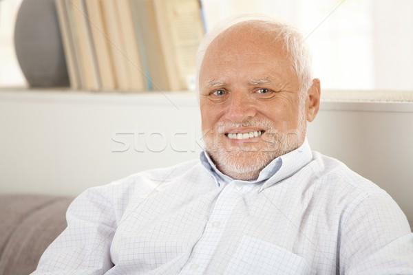 Сток-фото: портрет · счастливым · старший · человека · белые · волосы