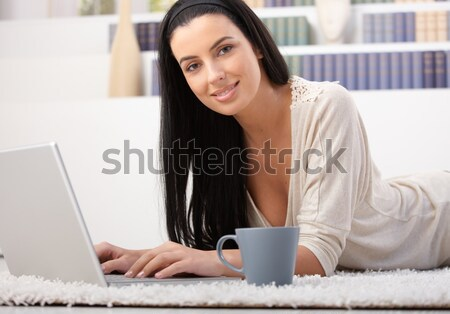 Office worker girl reading on screen Stock photo © nyul