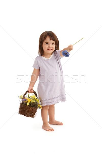 Cute girl handing flower Stock photo © nyul