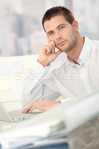 Problémás üzletember ül asztal iroda arc Stock fotó © nyul