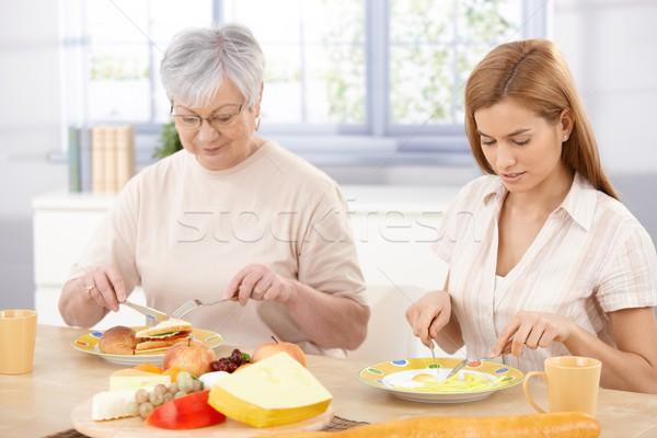 Stock fotó: Anya · lánygyermek · ebéd · idős · felnőtt · együtt