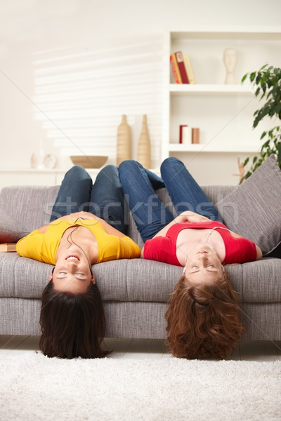 Teen girls upside down Stock photo © nyul