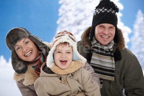 ストックフォト: 家族 · 雪 · 冬 · 肖像 · 幸せな家族 · 一緒に