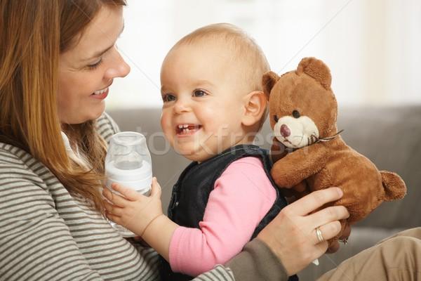 Stockfoto: Gelukkig · mamma · baby · teddybeer · lachend